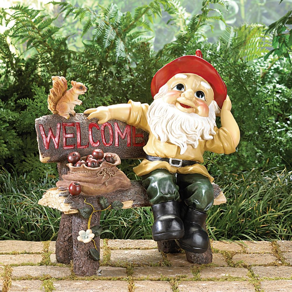 two charmed gals garden gnome welcome sign