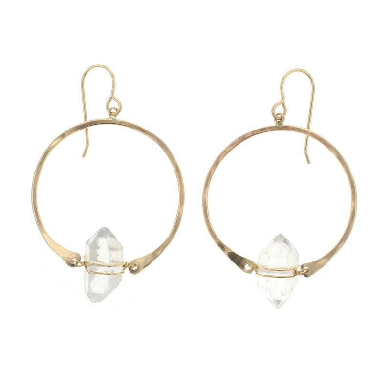 Lotus Jewelry Studio Gold Dreamer Earrings with Herkimer Diamond