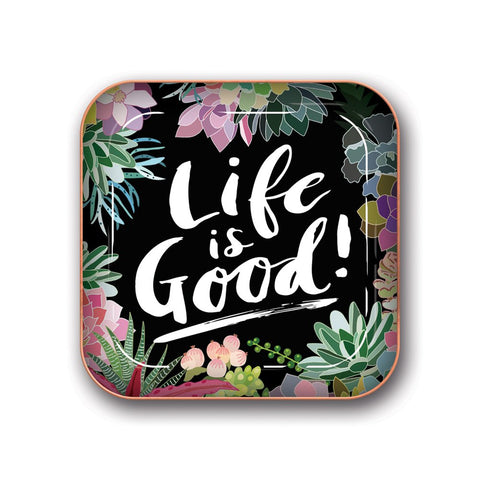 "Studio Oh! - Succulent Paradise ""Life is Good"" - Small Metal Catchall Tray by Eli Halpin"