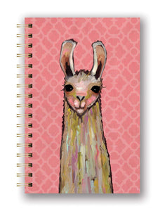 Studio Oh! - La La La  LAMA - Medium Hardcover Spiral Notebook by Eli Halpin