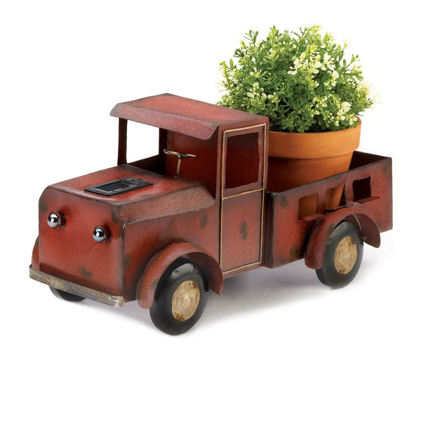 two charmed gals red truck solar light planter