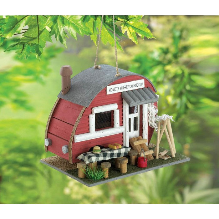 Two Charmed Gals Vintage Red Trailer Birdhouse