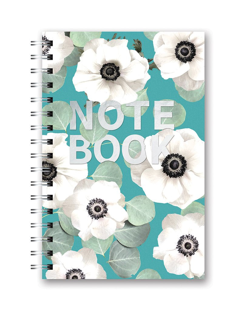 Studio Oh! - Floral Expressions White Flowers on Slate Blue, Hardcover Medium Spiral Notebook