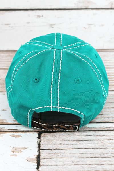 Happy Camper Distressed Teal and Leopard Cap