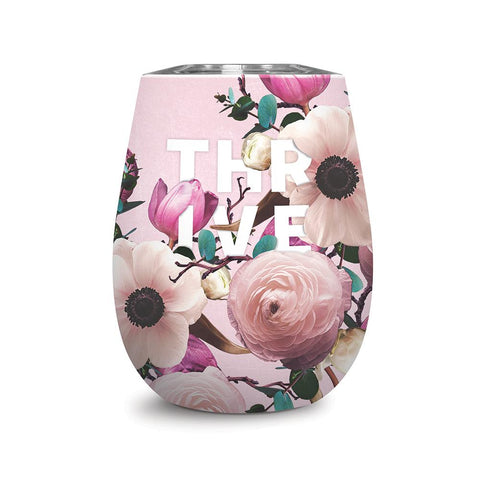 Studio Oh! - Wine Tumbler - THRIVE - 12 oz. Floral Expressions Insulated Stainless Steel