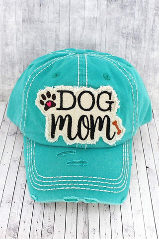 Fur Babies - Distressed Turquoise Dog Mom Cap