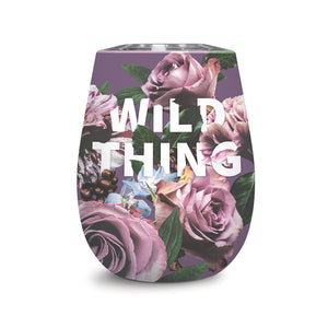 Studio Oh! - Wine Tumbler - WILD THING - 12 oz. Floral Expressions Insulated Stainless Steel