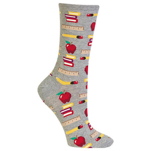 Hot Sox Women's Teacher's School Supplies Crew Socks