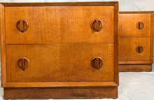 Load image into Gallery viewer, Pair Mid Century Oak Bedside Cabinets.