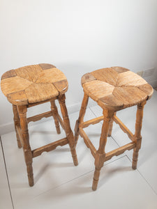 Pair of Oak Stools - Sun Bleached - Rush Seats - Highly Decorative