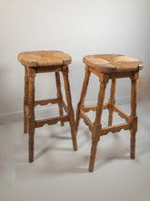 Load image into Gallery viewer, Pair of Oak Stools - Sun Bleached - Rush Seats - Highly Decorative