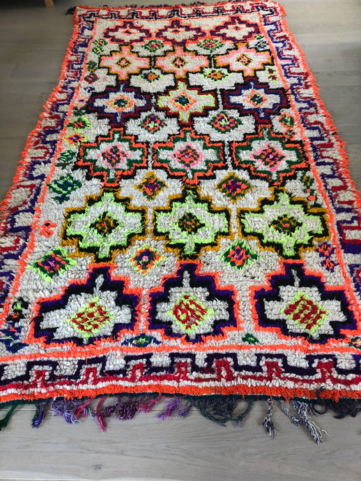 Vintage Azilal Moroccan Rug with pops of Neon