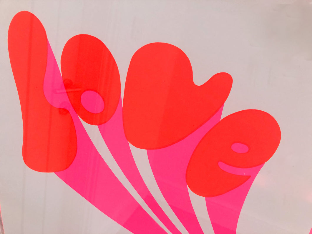 Large 60's Michael English Love Festival Poster in Neon Acrylic Frame