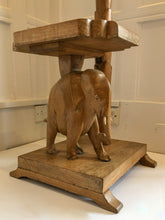Load image into Gallery viewer, 70s Carved Elephant, Palm Standard Lamp and Side Table with Integrated light.