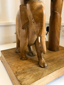 70s Carved Elephant, Palm Standard Lamp and Side Table with Integrated light.