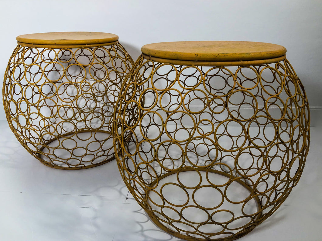 Pair of Vintage Mustard Metal Side Tables
