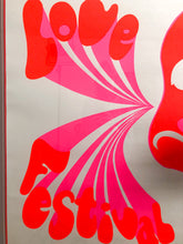 Load image into Gallery viewer, Large 60's Michael English Love Festival Poster in Neon Acrylic Frame