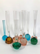 Load image into Gallery viewer, Bubble Bud Vases in Blush, Amber, Turquoise and Green. Swedish and Continental Art Glass. 50's/60's
