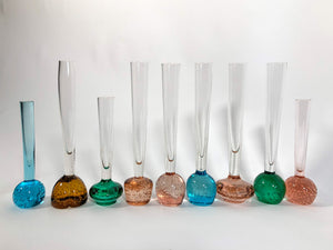 Bubble Bud Vases in Blush, Amber, Turquoise and Green. Swedish and Continental Art Glass. 50's/60's
