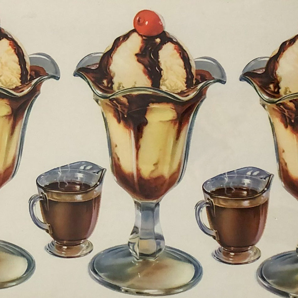 Original 1950's American Diner Art. Ice cream with Cherries on Top.