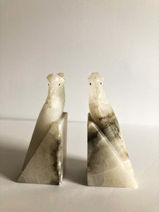 Pair Marble Alabaster Cockatiel Bookends, Vintage, Carrera