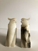 Load image into Gallery viewer, Pair Marble Alabaster Cockatiel Bookends, Vintage, Carrera