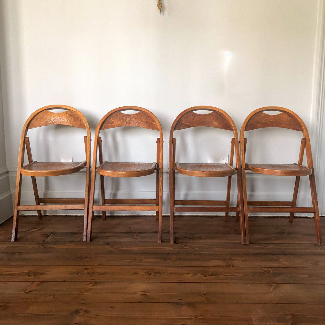 Set of 4 Thonet Folding Chairs with Croco print