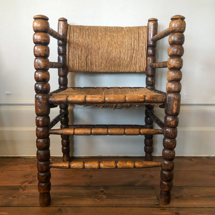 Oak Hall Chair, Bobbin Legs, Rush Seat