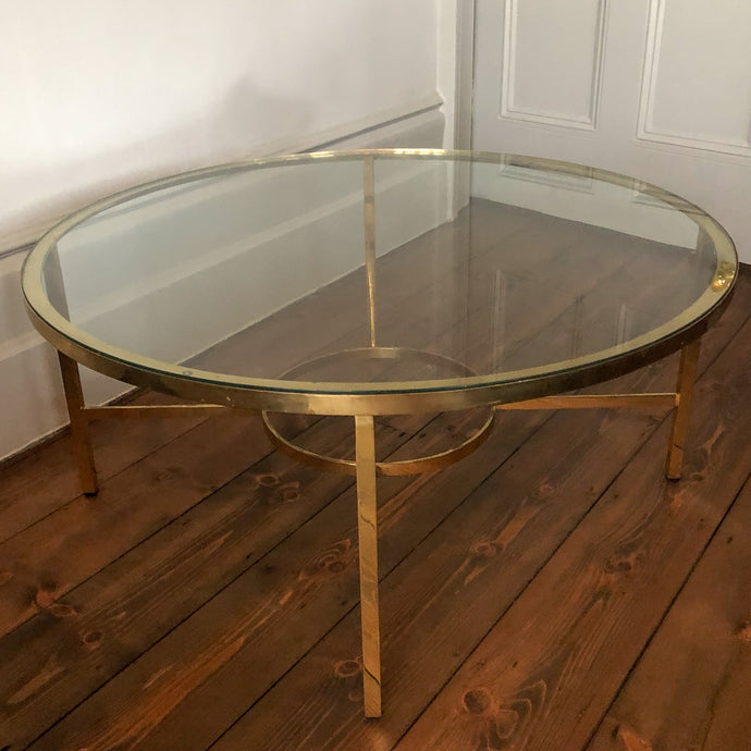 French brass and glass circular coffee table. 60s.