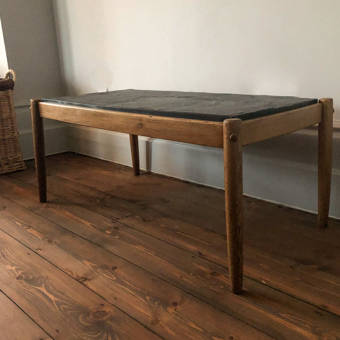 Vintage Oak Coffee Table with Slate Top, Belgium, 50s/60s