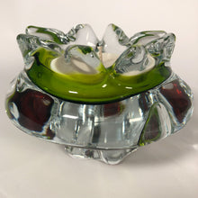 Load image into Gallery viewer, Vintage Chribska Josef Hosdodka Green And Topaz Glass Bowl