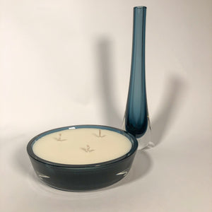 Vintage Caithness Glass Bedside Set, Teardrop Vase and Low Wide Bowl, Steely Navy Blue
