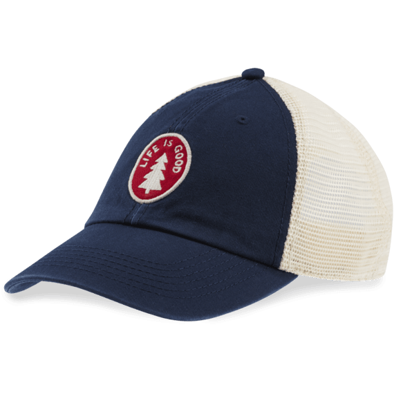 Life is Good Pine Tree Patch Soft Mesh Cap (Darkest Blue)