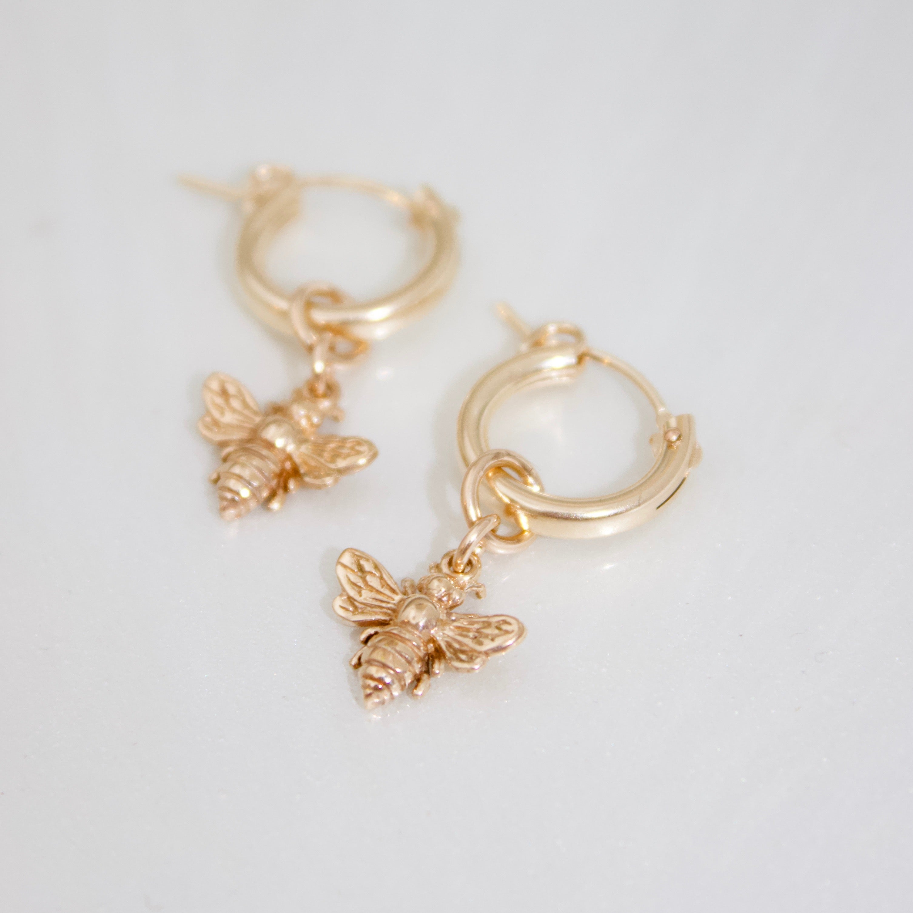 Bee and Gold-Filled Hoop Earrings