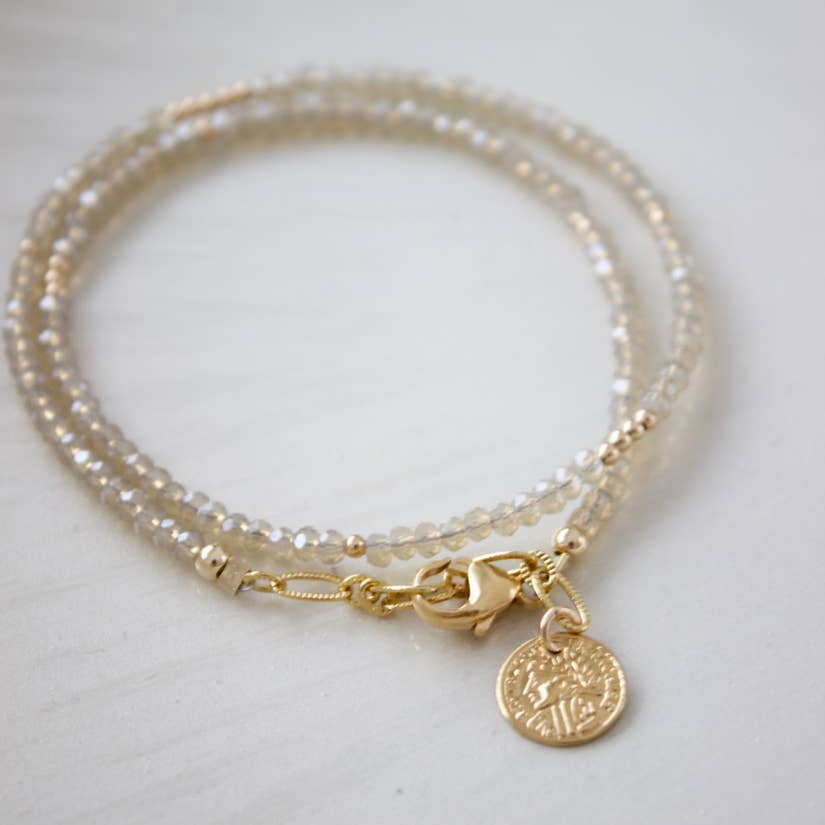 Petite Double Wrap Bracelet with Gold Accents