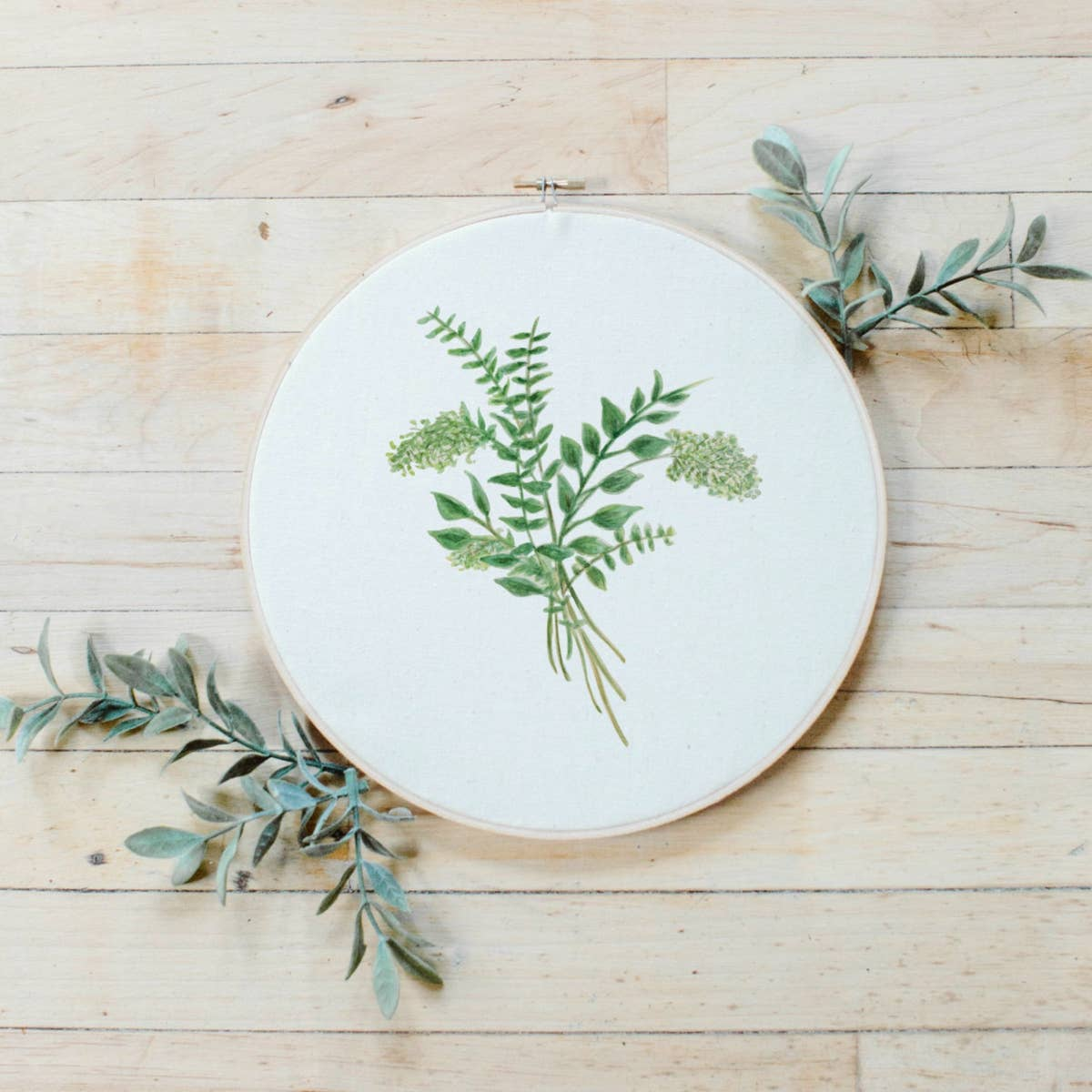 Eucalyptus Watercolor Hoop