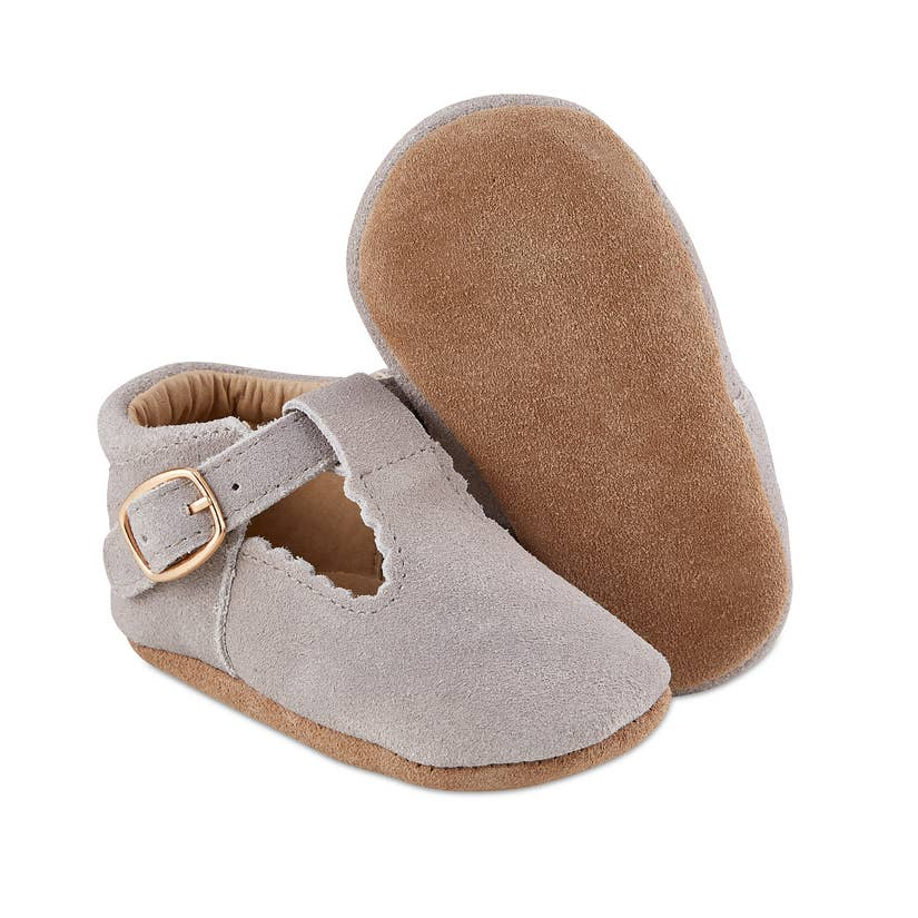 Grey Suede Baby Mary Janes