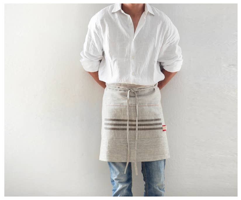 Short - Linen Kitchen Apron