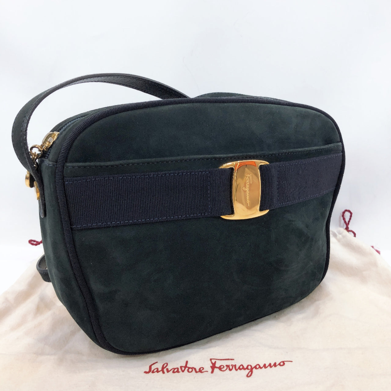Salvatore Ferragamo Shoulder Bag BA21 4183 Vara ribbon Suede Navy Women Used