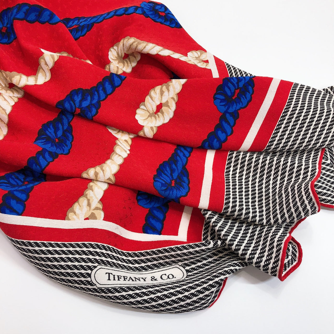 TIFFANY&Co. scarf T DESIGN silk Red blue Women Used
