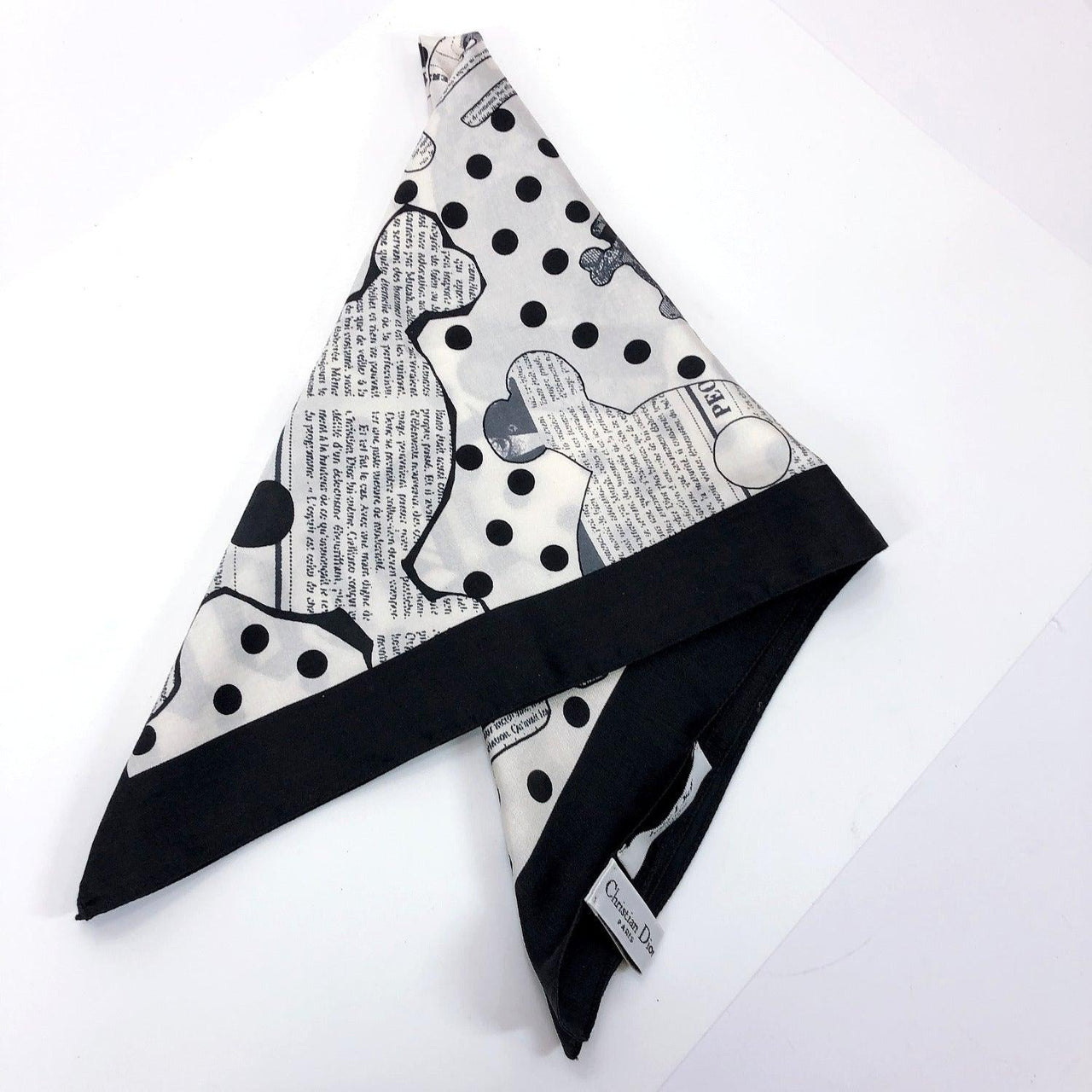 Christian Dior scarf Baby dior silk/cotton black white unisex Used