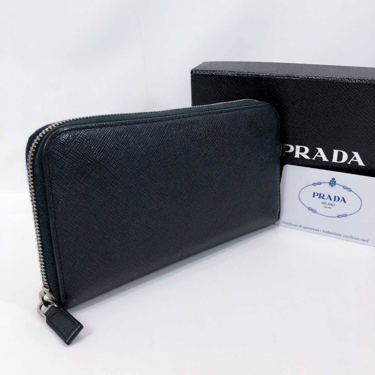 PRADA purse 2ML317 Round zip Safiano leather Navy mens Used