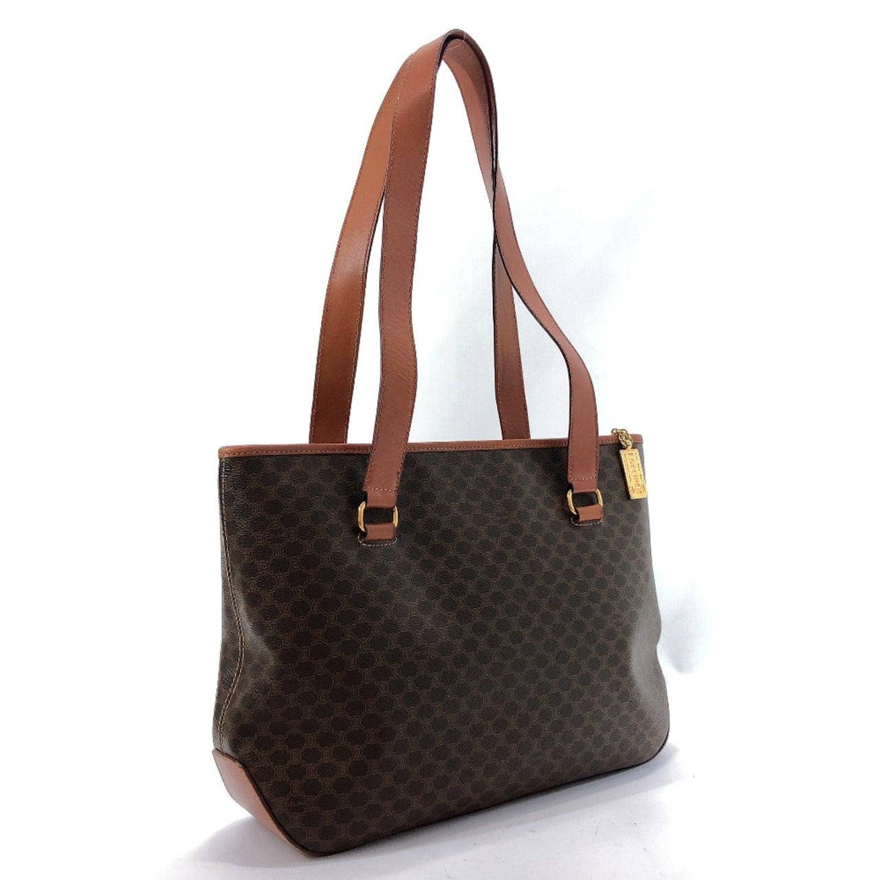 CELINE Tote Bag M94 vintage Macadam PVC Brown Women Used
