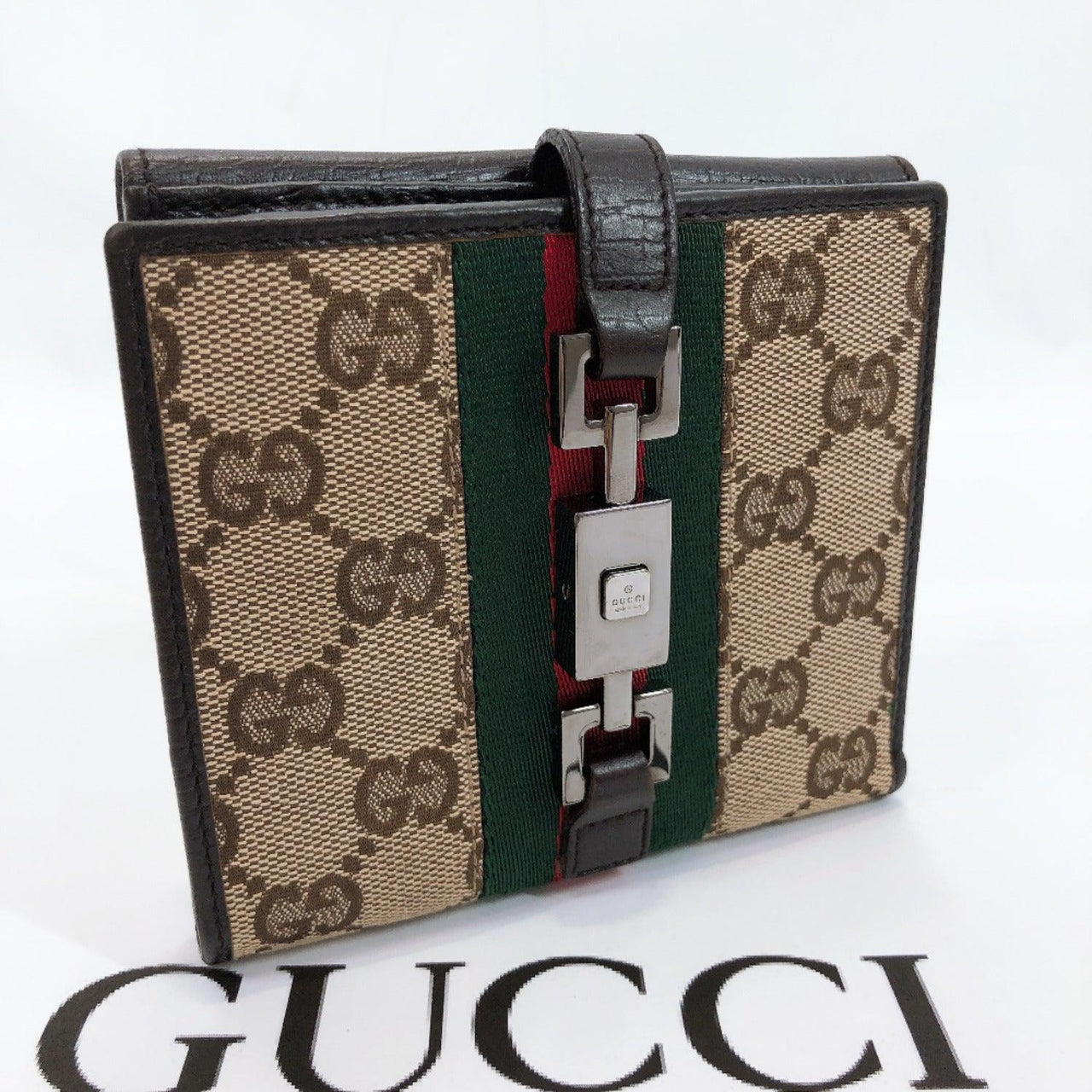 GUCCI Tri-fold wallet Sherry line GG canvas Brown Women Used
