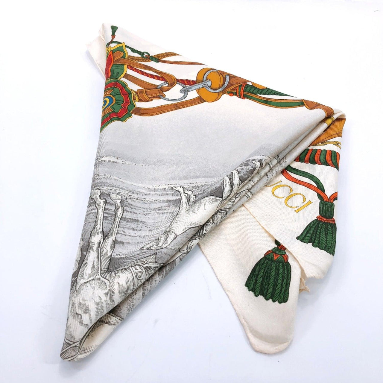 GUCCI scarf silk beige Women Used