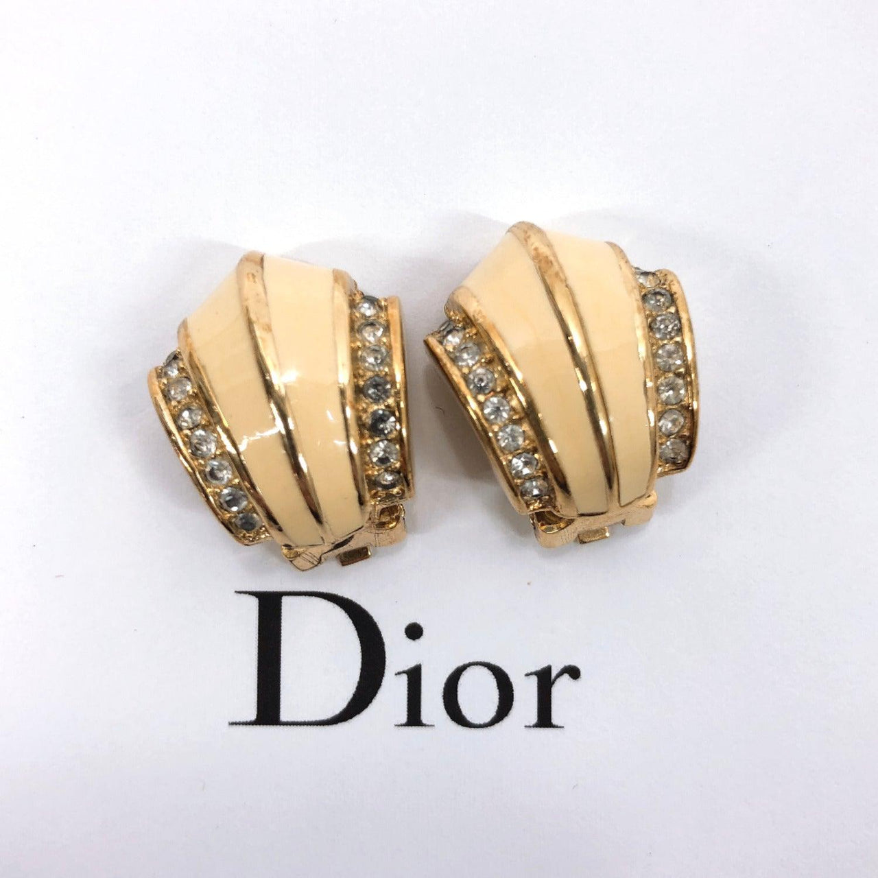 Christian Dior Earring Rhinestone metal gold Women Used