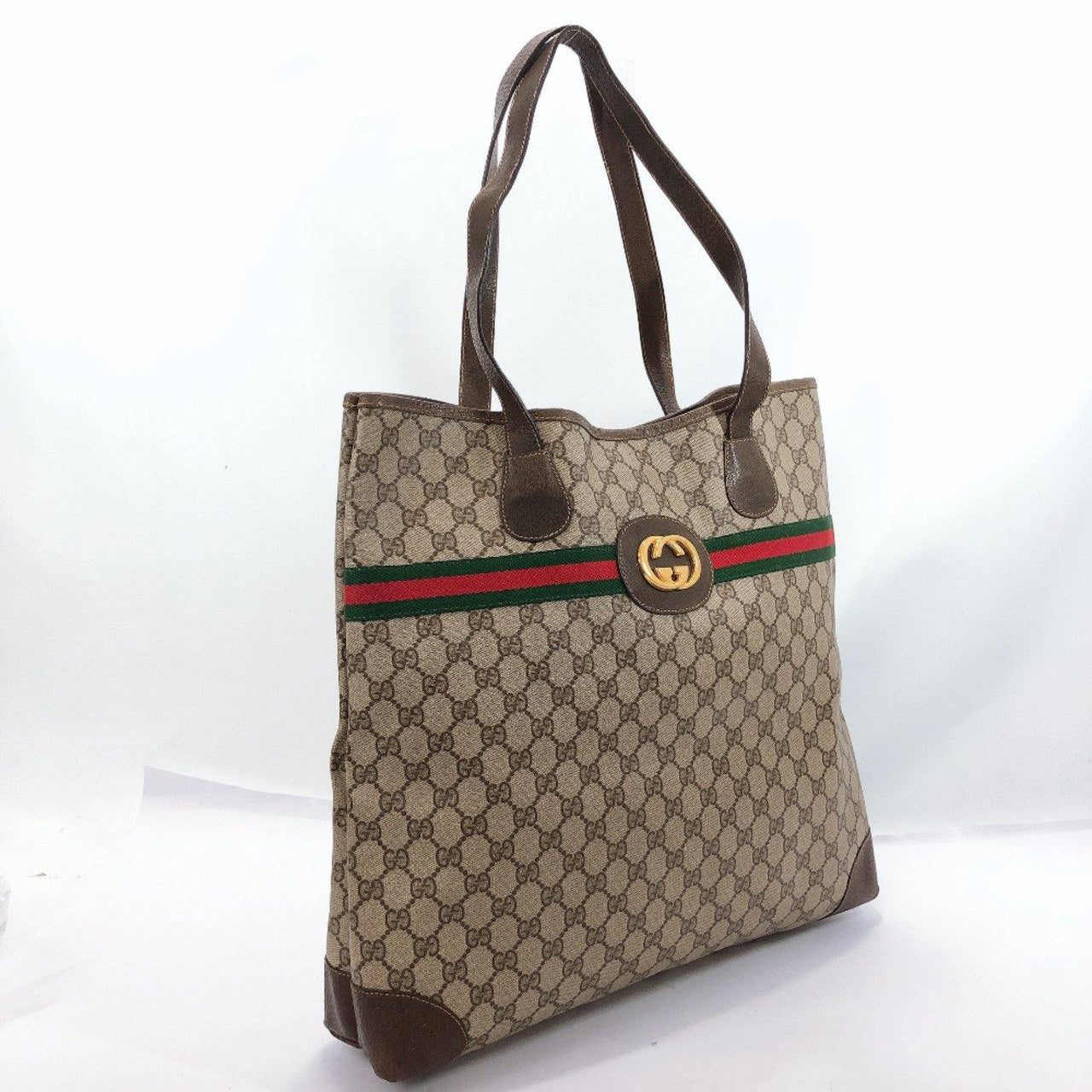 GUCCI Tote Bag Sherry line vintage GG Supreme Canvas Brown Women Used - JP-BRANDS.com