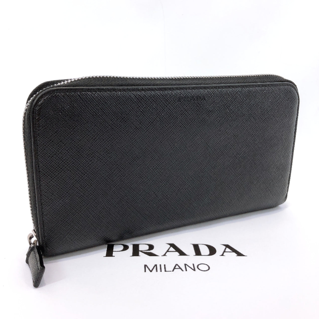 PRADA purse Round zip Safiano leather black mens Used