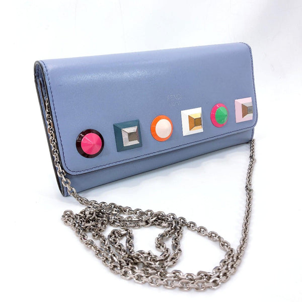 FENDI purse 8M0365-SR0-188-3260 Multi studs Chain wallet leather blue Ice blue Women Used