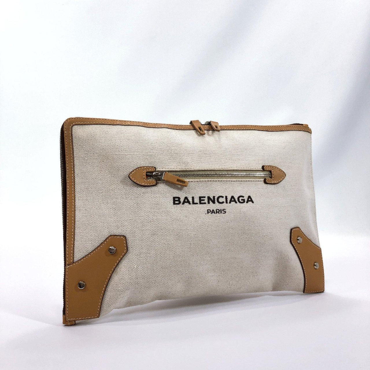 BALENCIAGA Clutch bag 419994 L-shaped fastener Cotton canvas/leather beige Ivory unisex Used - JP-BRANDS.com